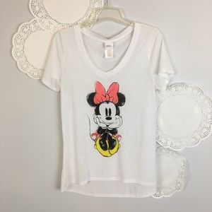 Minnie Mouse Top Disney Jerry Leigh Graphic Tee L